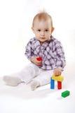 девушка кирпичей меньшяя игрушка Стоковое Изображение RF
