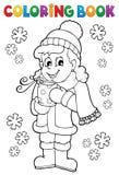 Девушка книжка-раскраски в одеждах зимы иллюстрация штока