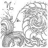 Девушка козерога знака зодиака черно-белая рисуя с кабелем рыб и рожками козы в ее волосах иллюстрация штока