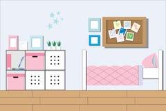 Девушка комнаты, комната подростка молодой дамы или интерьер спальни студента иллюстрация вектора