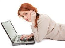 девушка компьютера ультрамодная стоковое изображение