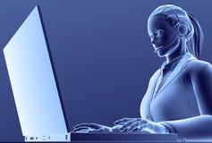 девушка компьютера иллюстрация вектора