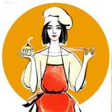 Девушка кондитера в шляпе шеф-повара и красная рисберма с пирожным в руке бесплатная иллюстрация