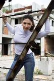 девушка конструкции около ржавчины Стоковые Изображения RF