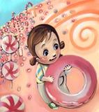 девушка конфеты немногая иллюстрация вектора