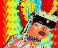 Девушка коренного американца с красочным головным убором пера и абстрактной предпосылкой Стоковое фото RF