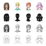 Девушка, коричневые волосы, и другой значок сети в стиле шаржа Salonhygiene, клиппирование, значки coiffure в собрании комплекта иллюстрация вектора