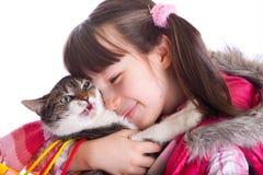 девушка кота ее детеныши Стоковые Изображения