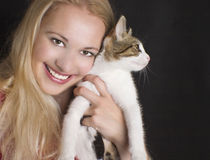 девушка кота Стоковое Изображение RF