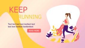 девушка, который побежали в иллюстрации концепции леса Девушка jogging в парке иллюстрация вектора