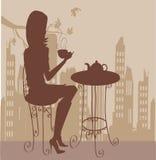 девушка кофейной чашки Стоковое Изображение