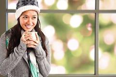 девушка кофе выпивая Стоковые Изображения RF