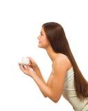 девушка кофе крышки стоковое изображение rf
