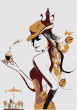 девушка кофе Стоковые Фото