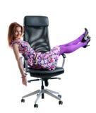 девушка красивейшего черного стула легкая Стоковые Изображения RF