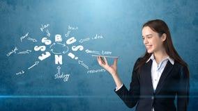 Девушка красоты в костюме держа незримый поднос при copyspace стоя близко стена с эскизом идеи дела нарисованная на ем Стоковое Изображение RF