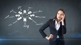 Девушка красоты в костюме стоя близко стена с эскизом идеи дела нарисованная на ем Концепция успешной коммерсантки Стоковые Фотографии RF