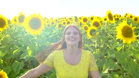 Девушка красоты при длинные красные волосы бежать на желтом поле солнцецвета, поднимая руки счастливая женщина outdoors teen подр акции видеоматериалы