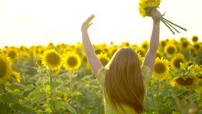 Девушка красоты при длинные красные волосы стоя на желтом поле солнцецвета, поднимая руки счастливая женщина outdoors teen подрос акции видеоматериалы