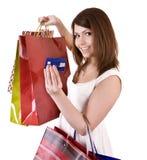 девушка кредита карточки мешка Стоковые Фото