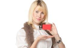 девушка кредита пустой карточки Стоковое Изображение RF