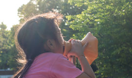 Девушка кричаща вне в мегафон стоковые изображения