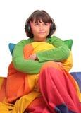 девушка кровати стоковое изображение rf