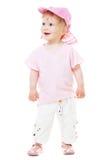 девушка крышки младенца милая смотрит розовое поднимающее вверх стоковое изображение rf