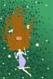 Девушка лежа на зеленой траве вместе с животными леса Иллюстрация показывает любовь для природы Для плакатов избирательной кампан иллюстрация вектора