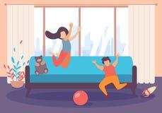 Девушка мальчика детей скачет игра внутри живущей комнаты иллюстрация штока