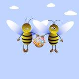 девушка мальчика пчелы иллюстрация вектора