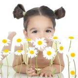 девушка маргариток немногая белое Стоковое фото RF