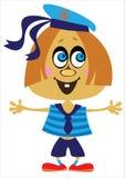 Девушка матроса шаржа на белизне Стоковые Фотографии RF
