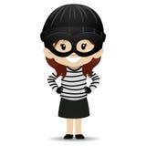 Девушка маленького ребенка нося костюм бандита иллюстрация штока