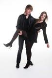 Девушка & мальчик подростка в черных одеждах Стоковое Фото