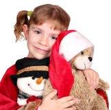 девушка медведя держа меньший игрушечный Стоковое Изображение RF