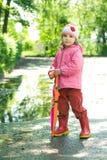 девушка меньший зонтик Стоковая Фотография RF