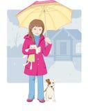 девушка меньший зонтик бесплатная иллюстрация