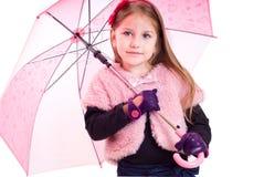 девушка меньший зонтик Стоковое фото RF