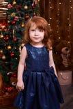 девушка меньший портрет Интерьер рождества голубое maike платья Стоковое фото RF