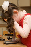 девушка меньший смотря микроскоп Стоковое Фото