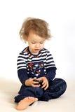 девушка меньший телефон Стоковая Фотография