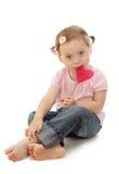 девушка меньший lollipop стоковая фотография