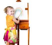 девушка меньшяя радуга картины стоковое изображение