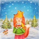 Девушка милого redhead счастливая маленькая молодая красивая одетая как лиса Стоковые Фото