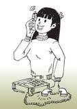 девушка мобильного телефона шаржа Стоковое Фото