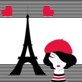Девушка моды мечтая Парижа Стоковое Фото