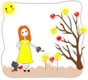 Девушка моча саженцы с моча чонсервной банкой Стоковые Фотографии RF