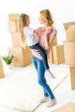 Девушка молодой женщины и ребенка Стоковое Изображение RF
