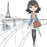Девушка моды вектора красивая в Париже Стоковое Изображение